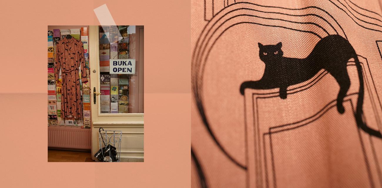 Links: Kleid mit aufgedruckten schwarzen Katzen. Links: Closeup einer Katze